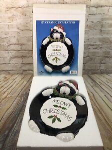 Kurt Adler Meowy Christmas platter 12'' ceramic cat platter