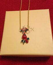 Lenox Winter Greeting Cardinal Pendant Necklace BNIB
