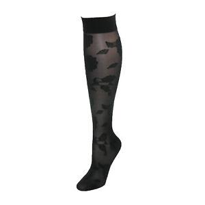 Rejuva 20-30 mmHg Knee High Floral Sheer Compression Socks Black Size S