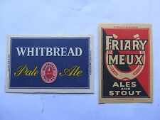 WHITBREAD & FRIARY MEUX ALES & STOUT MATCHBOX LABEL FOREIGN NORMAL SIZE c1950s