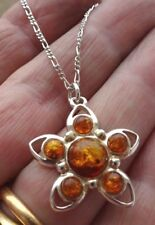 Gorgeous Sterling Silver and Baltic Amber Pendant on Silver Chain