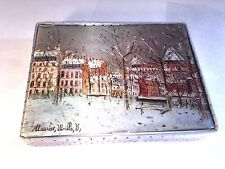 Victorian Winter City Scene Silk Silver & Gold  HANES Hoisery-Scarf-Glove Box