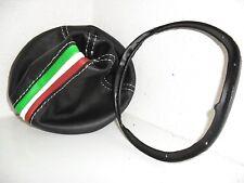 CUFFIA CAMBIO + cornice ghiera LANCIA YPSILON Y vera pelle nera e tricolore