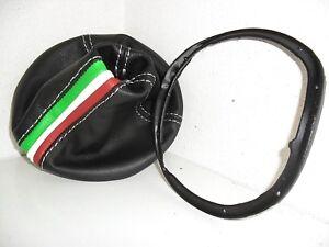 CUFFIA CAMBIO + cornice ghiera LANCIA YPSILON Y 843 vera pelle nera e tricolore