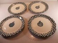 New Set Of Four Folk Craft by Tienshan Apple in Sponge Green Dinner Plates NEW