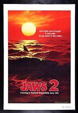 Jaws 2 * CineMasterpieces Teaser Original Movie Poster Linen 1978 Red Ocean