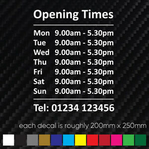 CUSTOM OPENING HOURS Window, Wall Sign Vinyl Decal Sticker, Opening Times