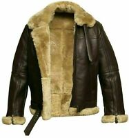 Mens RAF Aviator Real Leather Jacket Bomber B3 Sheep Skin Pilot Flying