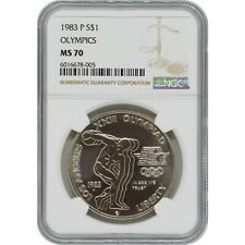 1983-P Olympics Commemorative Silver One Dollar Coin NGC MS70