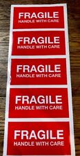 Large Fragile Stickers / Labels X20 Vinyl Red With White Lettering Self Adhesive