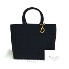 Authentic Christian Dior Cannage Lady Hand Bag Nylon Leather Black Italy 61ER828