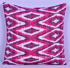 Indian Pink Kantha Stitch Pillow Cover Ikat Sofa Cushion Home Decor 16 X 16