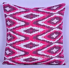 Indian Pink Kantha Stitch Pillow Cover Ikat Sofa Cushion Home Decor 16 X 16 Inch