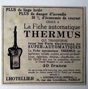 Publicité ancienne Fiche automatique Thermus,securité electrique 1933