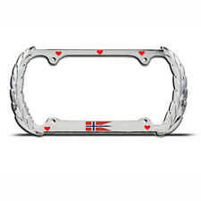 LOVE NORWAY FLAG EUROPE Chrome Heavy Duty Metal License Plate Frame Tag Border