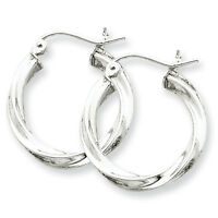 925 Sterling Silver Rhodium Plated 2.5mm x 20mm Twisted Polished Hoop Earrings