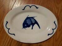 Misty Rose - Chinese Porcelain Blue & White Koi Fish Oval Serving Platter