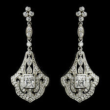 Antique Silver Clear CZ Crystal Chandelier Bridal Earrings #2651