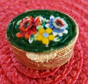 Floral Micro Mosaic Oval Pill Box Made in Italy  Embossed Gold Tone Base