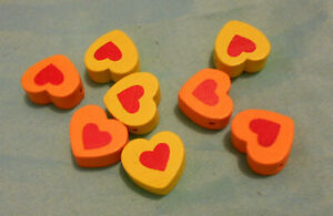 Wooden Beads 8 Chunky Heart Shaped Scrapbooking Embellishments Yellow/Orange New