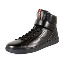 NEW PRADA Avenue Sneakers in Black Leather Strap Mens Shoes Size 8 Prada 9 US