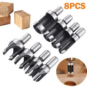8X Wood Plug Hole Cutter Set Dowel Maker Cutting Tools 10mm Shank Drill Bit Cork