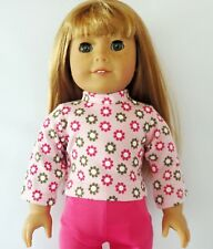 Pink Flower Power  Long Sleeve Knit Top Fits 18 inch American Girl Doll