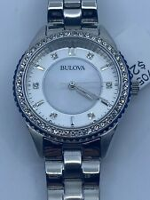 Bulova 96L217 Silver Tone White Dial Crystal Accent Women's Watch