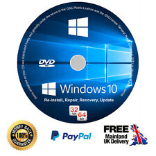Windows 10 Pro Installation Disc + Genuine Licence Key - 64/32 bit (CD/DVD)