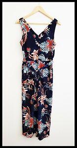 BNWOT TARGET Women's Navy Blue Floral Sleeveless Jumpsuit Self Tie Belt Size 8