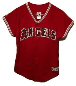 Los Angeles Angels MLB Majestic Red Jersey Youth Medium