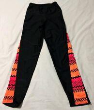 Vintage Ladies The Body Co. Shiny Black & Orange Spandex Pants Size M