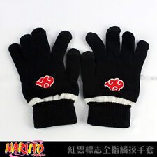 Anime Naruto Red Cloud Full Finger Plush Glove Cosplay Mitten Screen Touchable