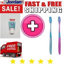 2 X Genuine Jordan Manual Soft Head Toothbrushes & 1 Travel Toothpaste Pack Set