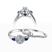 Engagement Wedding Ring Set For Women 925 Sterling Silver Round Cz Blue Sz 5-10