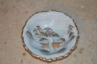 Vintage Oriental Asian Decorative Display Bowl, Gold Colored Trim, Porcelain