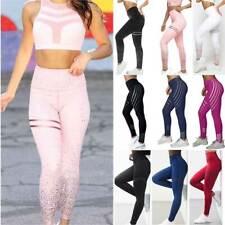Womens Yoga Pants High Waist Gym Leggings Fitness Sports Running Workout Striped