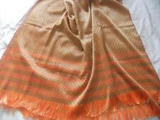 Vintage Ladies Silky Orange & Cream Woven Diamonds Design Evening Stole Wrap
