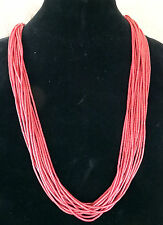 """15 Strand Coral Heshi Necklace 30"""" long"""