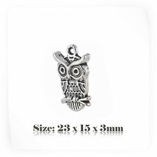 10 Tibetan Silver Antique Vintage Style Owl Charms Pendant Steampunk 064s