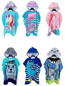 Kids Hooded Beach Towel Poncho Bath Swim Pool Changing Robe Unicorn Shark Dino