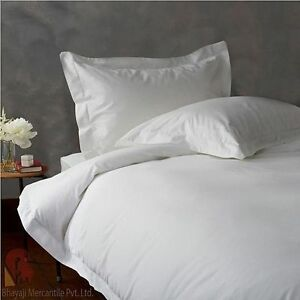 1000 TC EGYPTIAN COTTON BEDDING SET 4 PCs FITTED SHEET+DUVET COVER WHITE COLOR