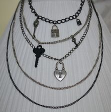 Multi strand necklace with Locks & Keys 5 Chains 6 Charms