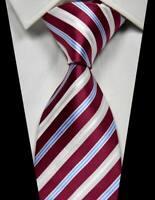 New Classic Striped Red Blue White 100% Silk Men's Necktie Neck Tie 3.15''(8CM)