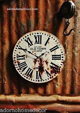 Metal Round London Wall Clock Industrial Old Town Antique Rustic Vintage Decor