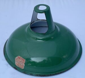 "Original Vintage Coolicon Industrial 11"" Green Enamel Lighting Shade"