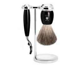 Muhle VIVO nera in resina 3 PEZZI GILLETTE MACH 3 Set da barba con pennello da barba