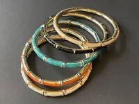 Vintage Lot of 5 enamel bamboo shape bangle bracelets