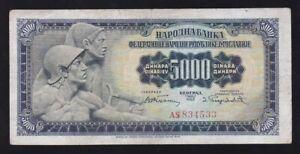 YUGOSLAVIA --- 5000  DINARA  1955 ------ F+ -------