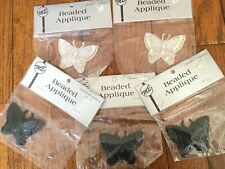 Beaded Sequin Butterfly Applique Lot of 5 Black (3) & White (2) Vintage/Sealed